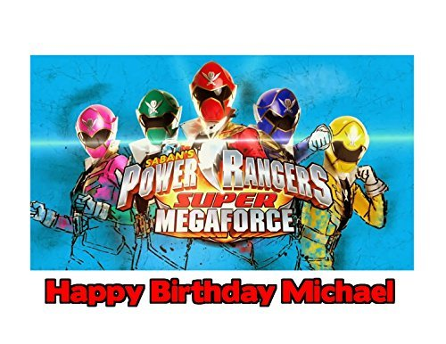 (Power Rangers Super Mega Force Image Photo Cake Topper Sheet Personalized Custom Customized Birthday Party - 1/4 Sheet - 79797)