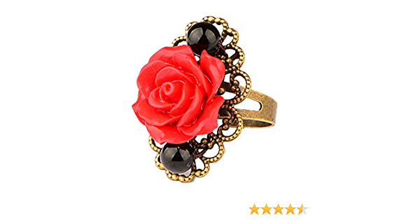Antique bronze Colored Black Onyx agate With Big Red Rose Flower Women Open Band Ring,Adjustable