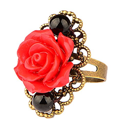BulingVV Antique Bronze Colored Black Onyx Agate with Big Red Rose Flower Women Open Band Ring,Adjustable ()