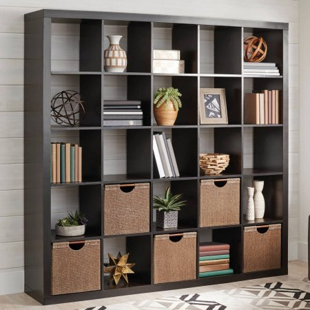 25 Cube Organizer Storage Bookcase Bookshelf or Room Divider (Espresso with Four Cube Bin Black)