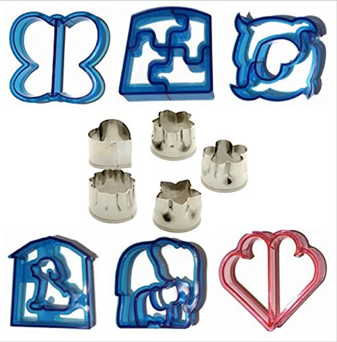 Sandwich Cutter Shapes 11 Piece Set Fruit Vegetables Bread Crusts Mini Cookie Cutters Flowers Star Heart Puzzle Butterfly Dolphin Friendy Home Solutions 098766