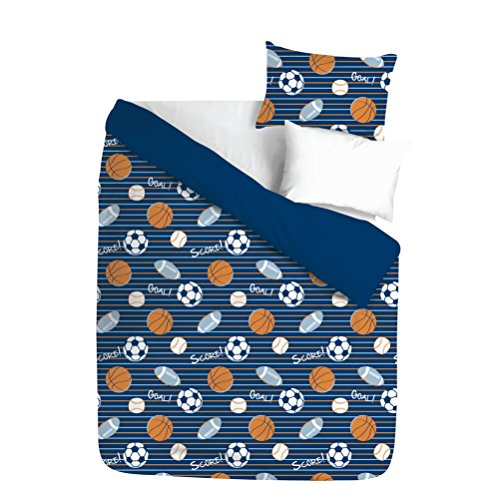 2 Piece Varsity Legendary Sports Themed Comforter Set Twin Size, Printed Baseball Football Basketball Soccer Bedding, Modern Geometric Stripes Pattern, Fun Graphic Sporty Lovers Design, Orange, Navy by Shopping Experts