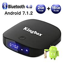 [2018 Version] Kingbox Android TV Box, K2 Android 7.1 Box 2GB+16GB Supporting 4K (60Hz) Full HDMI/H.265 / Bluetooth 4.0 / WiFi 2.4GHz Smart TV Box
