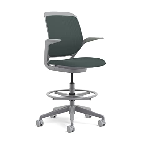 Steelcase Cobi Swivel Base Stool: Standard Carpet Casters   Arms With Soft  Arm Caps