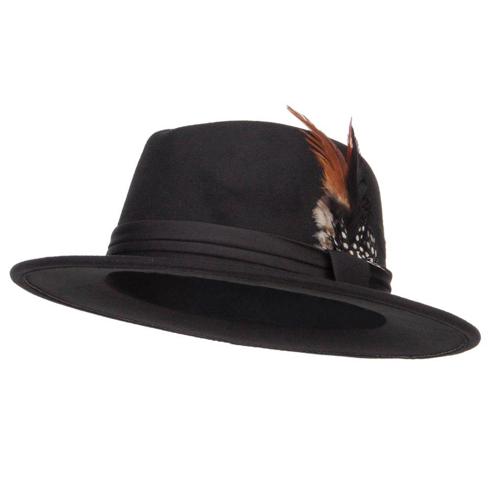 8aabb9e504024a Poly Faux Felt Feather Panama Hat - Black OSFM