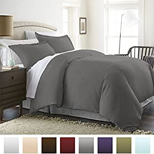 Beckham Hotel Collection Luxury Soft Brushed 1800 Series Microfiber Duvet Cover Set - Hypoallergenic - Full/Queen, Gray