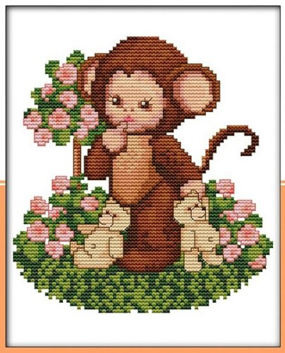 Happy Forever Cross Stitch,Cartoon animals, The lovely baby