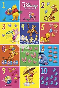 Disney Winnie the Pooh con números 1a 10grandes dibujos animados 61x 91,5cm