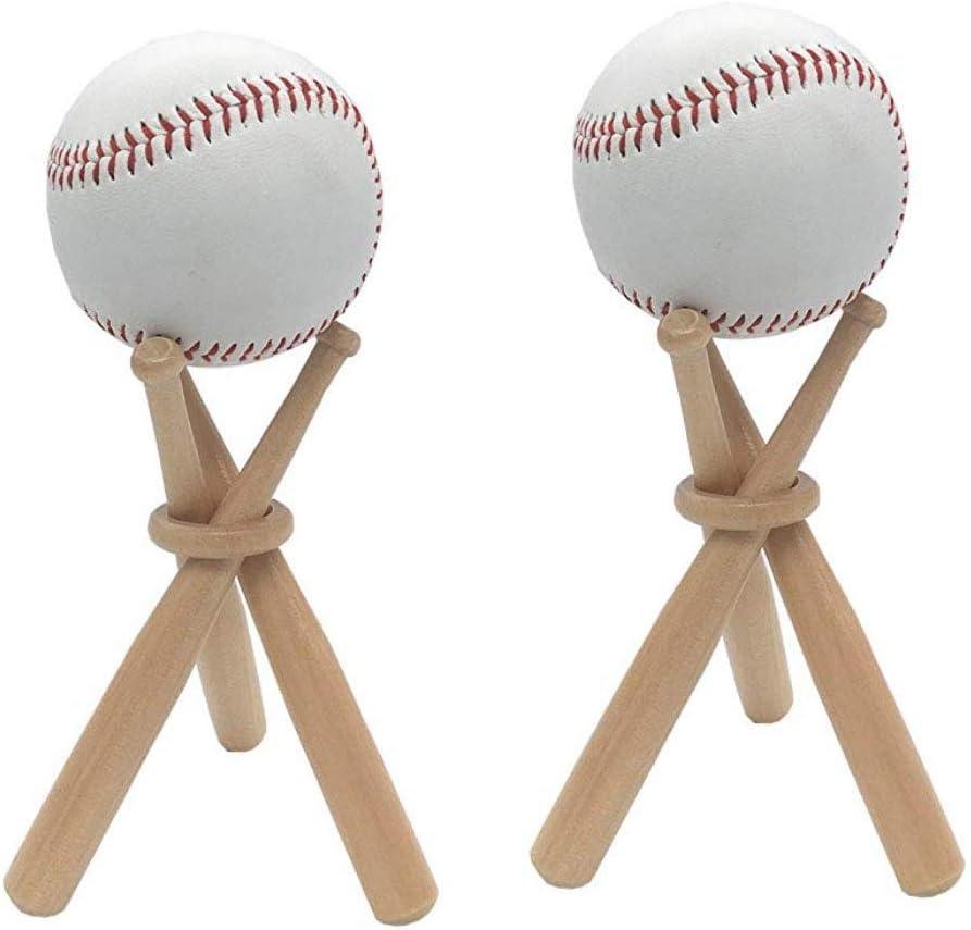 SITAER 2 Pack Baseball Stand Holder Wooden Base Ball Stand Display Holder