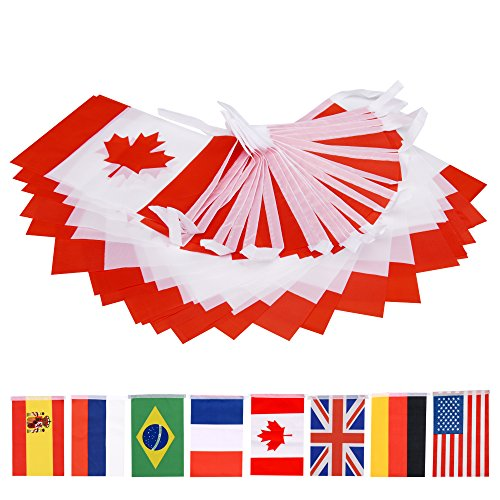 66 Feet Canada String Flag,60Pcs National Country World Flags Banner -