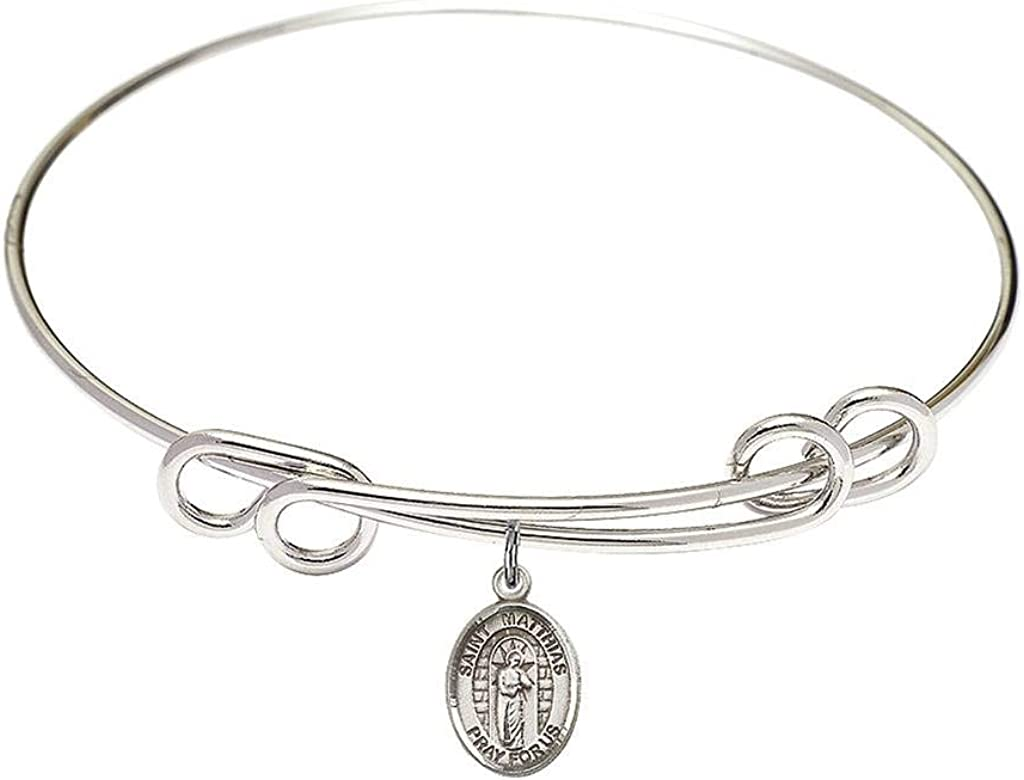 Matthias The Apostle Charm On A 8 Inch Round Double Loop Bangle Bracelet St