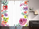 Ambesonne Watercolor Flower Decor Collection, Floral Frame with Summer Flowers Roses Natural Picture, Window Treatments, Living Room Curtain 2 Panels Set, 108 X 90 Inches, Pink Navy Blue Purple White