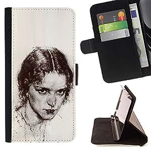 Momo Phone Case / Flip Funda de Cuero Case Cover - Beautiful Girl Pencil Coal - Samsung Galaxy S6 Edge Plus / S6 Edge+ G928