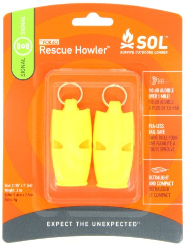 S.O.L. Survive Outdoors Longer Rescue Howler Whistle (2-Count)