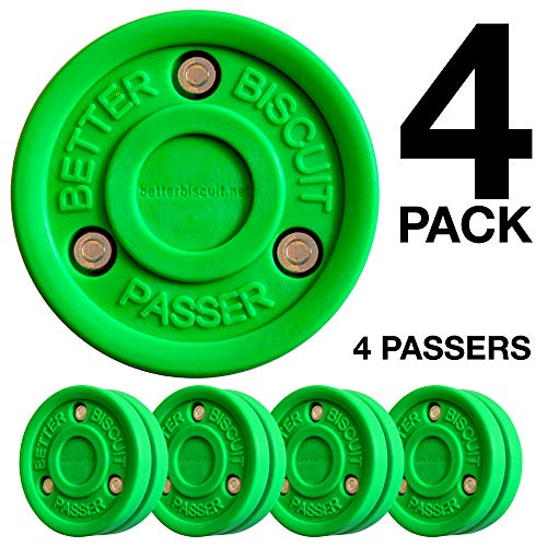 (Better Biscuit Passer-4 Pack | Off-Ice Stickhandling & Passing Puck | This Biscuit is Great for Street Hockey, Green )
