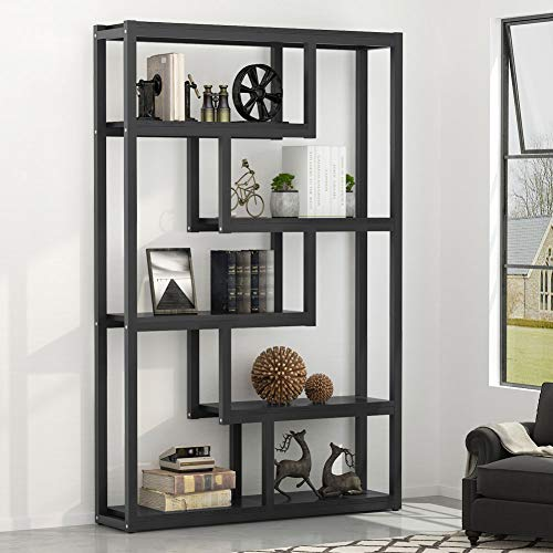 Tribesigns 5-Shelf Modern Bookshelf, Industrial Etagere Bookcase, Open Display Shelves with Sturdy Metal Frame, Black