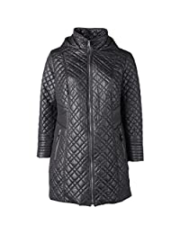 Via Spiga Womens Plus Quilted Hooded Basic Jacket