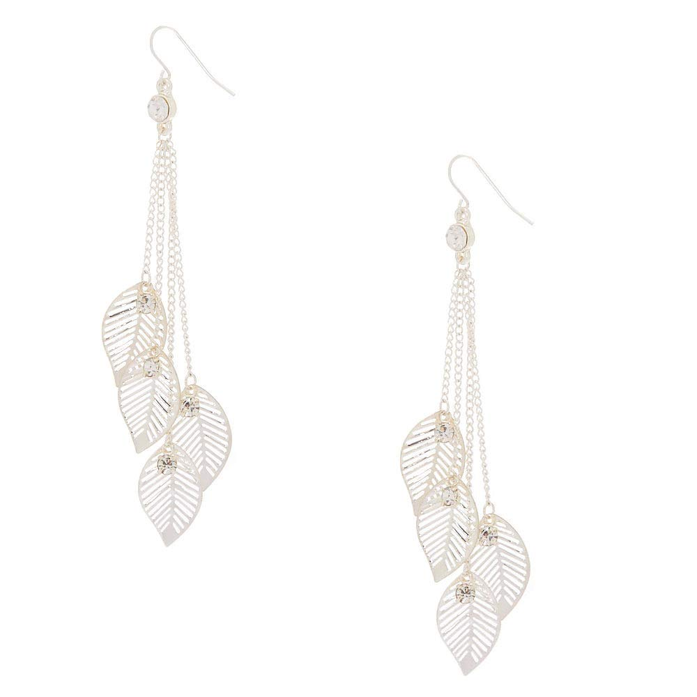 Claires Girls Silver 4 Falling Leaves Chain Drop Earrings