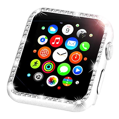 Tech Express Crystal Diamond Bling Case Aluminum Metal Lightweight Snap on Frame for Apple Watch [iWatch] Impact Shockproof Protection Stainless Steel Cover Accessories (Silver, 40mm)