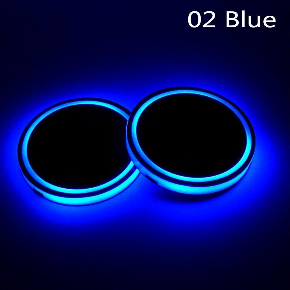 RUNMIND 2Pcs LED Car Cup Holder Mat Auto Interior Atmosphere RGB Colorful Light Blue