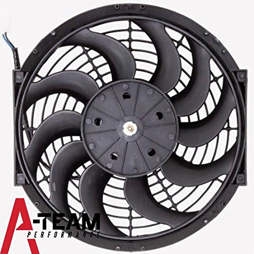 A-Team Performance 170071 12'' Heavy Duty 12V Radiator Electric Curved 10 Blade FAN 1400 CFM Reversible Push or Pull with Mounting Kit