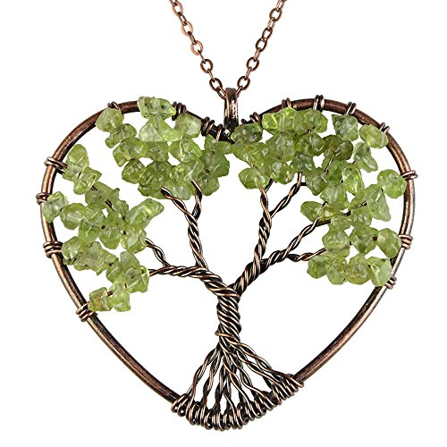BAYUEBA Natural Necklace, Tree of Life Heart Pendant, Amethyst Argentina Rhodochrosite Chakra Gemstone Jewelry Peridot