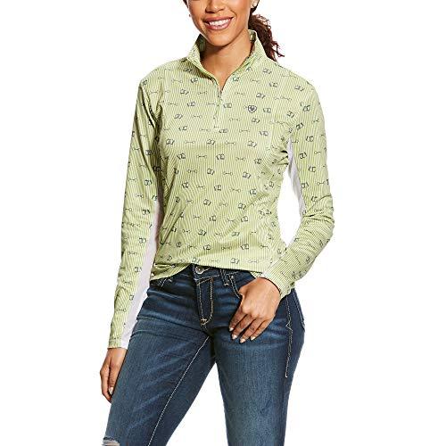 Pique Knit Mock Shirt - ARIAT Women's Women's Sunstopper 1/4 Zip, Lime bit Print, MED