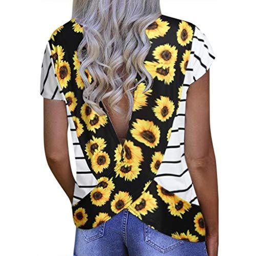 Amlaiworld Fashion Women Plus Size Tee Tops Halter Shirt Sexy Loose Short Sleeve V-Neck Printed Open Back T-Shirt Blouse Yellow