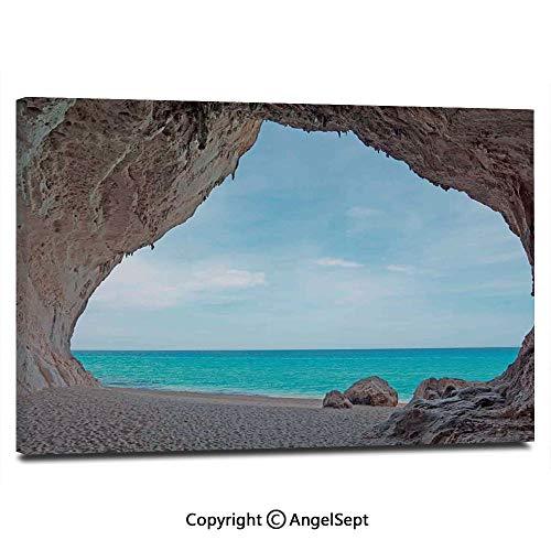 Modern Salon Theme Mural Dreamy Cara Luna Cave by The Ocean Tropical Beach in Mediterranean Seashore Painting Canvas Wall Art for Home Decor 24x36inches, Cream Blue ()