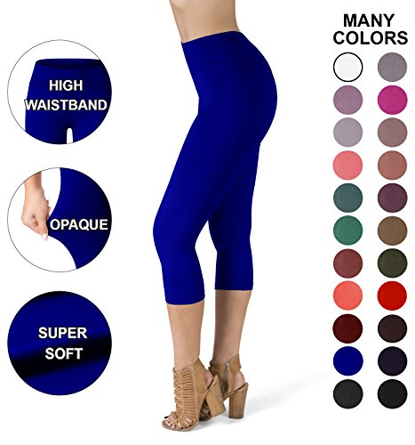 Royal Blue Womens Capris (Sejora SATINA High Waisted Super Soft Capri Leggings - 20 Colors - Reg & Plus Size (Plus Size, Royal Blue))