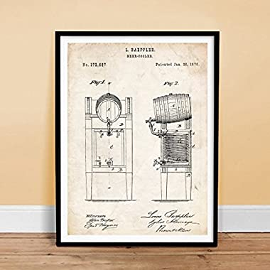 BEER KEG COOLER INVENTION 18x24 PATENT ART POSTER PRINT 1876 VINTAGE BREWING BREW BAEPPLER GIFT UNFRAMED