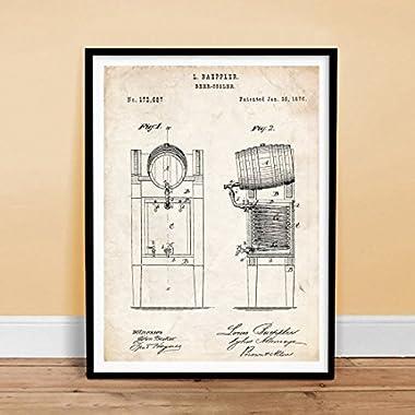 BEER KEG COOLER INVENTION 18x24 PATENT ART POSTER PRINT 1876 VINTAGE BREWING BREW BAEPPLER GIFT UNFRAMED