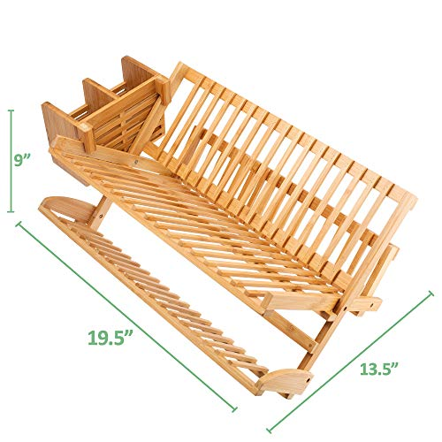 Bamboo Dish Drying Rack w/ Utensil Dish Drainer by Maozinho Homeware | Collapsible Foldable Dish Drainer | For Big plates, Cups, Mugs, Utensils | 18 Slits | Eco-Friendly | Large 2-Tier Double Sided