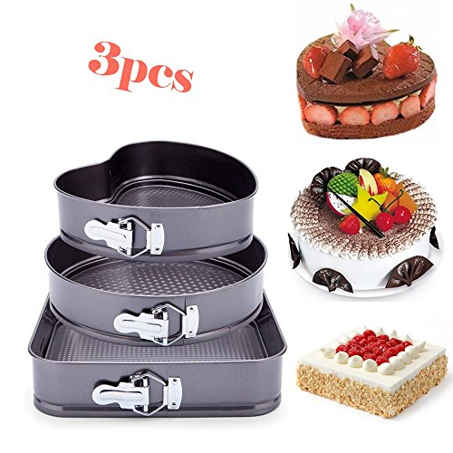"""3pcs Premium Nonstick Springform Cake Pan Leakproof Cheesecake Bakeware Pan 9"""" Heart 10"""" Round 10.5"""" Square Shaped Cake Mold for Kitchen Cooking, Carbon Coated Steel Removable - Round Heart"""