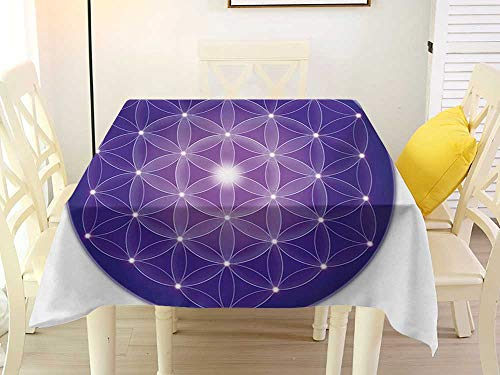 - L'sWOW Square Tablecloth Cloth Sacred Geometry Flower of Life Design of Ancient Traditions with Point Stars Archaic Motif Purple Stripe 60 x 60 Inch