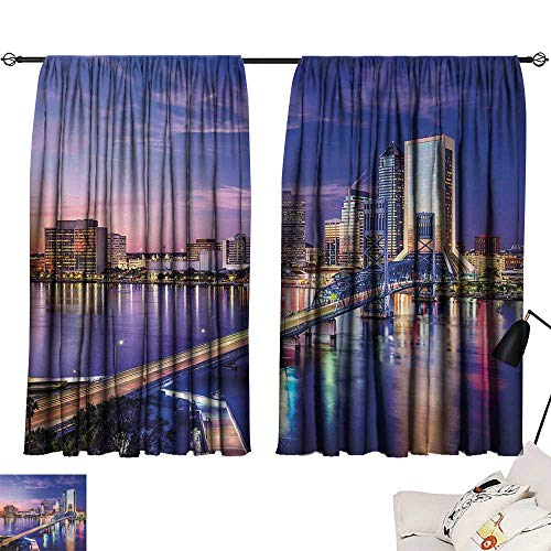 (United States Curtain Living Room Jacksonville Florida Skyline Vibrant Night St. Johns River Scenic Blackout/Room Darkening Curtains Royal Blue Pale Pink W72 x)