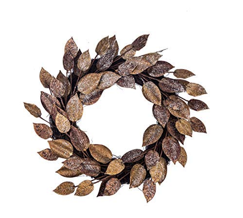Huashen 24 Inch Golden&Copper Color, Metal Magnolia Leaf Christmas Wreath for Front Door Adjustable Leaves Wedding Home ()