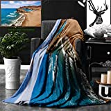 Unique Custom Double Sides Print Flannel Blankets Landscape Ocean View Tranquil Beach Cabo De Gata Spain Coastal Photo Scenic Summer Sce Super Soft Blanketry for Bed Couch, Twin Size 70 x 60 Inches