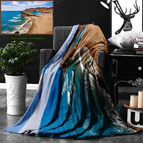 Unique Custom Double Sides Print Flannel Blankets Landscape Ocean View Tranquil Beach Cabo De Gata Spain Coastal Photo Scenic Summer Sce Super Soft Blanketry for Bed Couch, Twin Size 70 x 60 Inches by Ralahome