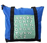 Lunarable ABC Kids Shoulder Bag, Horizontal Striped Capital, Durable with Zipper