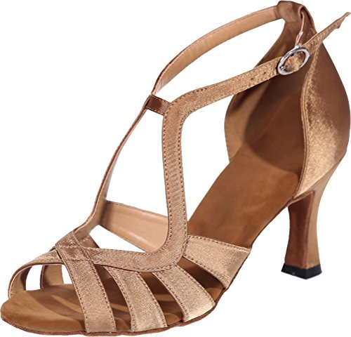 Nice Party Sudue Dance Cha Shoes Practice Sole Find Peep Tango 3IN Toe Beginner Ballroom Bride Comfort Latin Straps Ankle Swing Brown Womens Cha Satin dqSaxw7ZwX