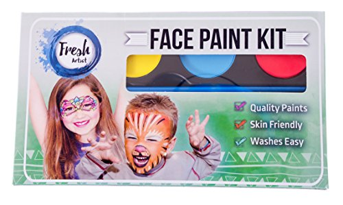 Face Paints Kit 8 Colors Quality Paint- Party Pack for Kids & Adults- Easy Application- Vivid Colors Compact Kit with Excellent Stay-Power- Washable- FDA Approved & ()