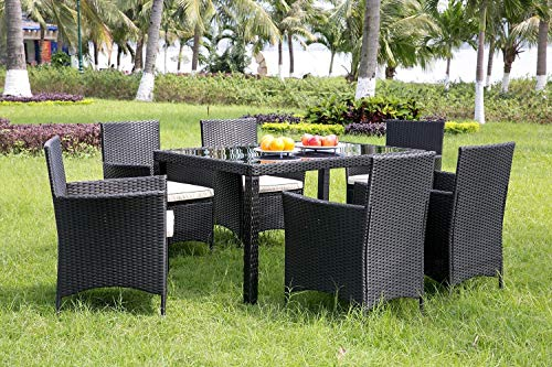 Plastic Rattan Dining Set 6 Seater Black