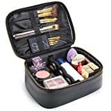 Lifewit Travel Cosmetic Bag PU Leather Makeup Bag Case with Adjustable Dividers Organize Case with Brush Holders, Black