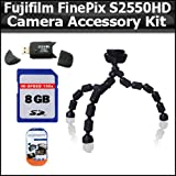 Accessory Kit For Fujifilm FinePix S2550HD 12 MP Digital Camera Includes Gripster Flexible Tripod + 8GB High Speed SD Memory card + USB 2.0 High Speed Card Reader + Clear LCD Screen Protectors