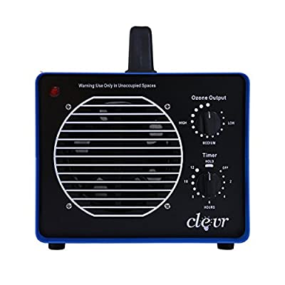 Clevr Professional Grade Commercial Ozone Generator with 3 Large Plates, Smoke Odor Remover Air Ionizer Sterilizer w/UV Light, Covers 3500 sq.ft, Allergies allergen Reducer | 1 Year Limited Warranty
