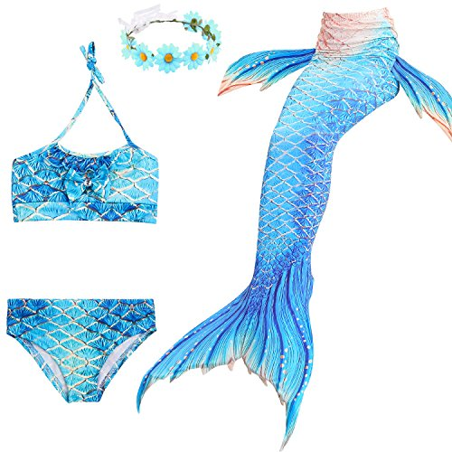 Familycrazy 2019 New Girls Swimsuit Mermaid Tails for Swimming Princess Bikini Bathing Suit Set for 3-12Y(No Monofin)