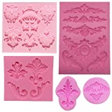 Funshowcase Baroque Style Curlicues Scroll Lace Fondant Silicone Mold for Sugarcraft, Cake Border Decoration, Cupcake Topper, Jewelry, Polymer Clay, Crafting Projects, 5 in Set