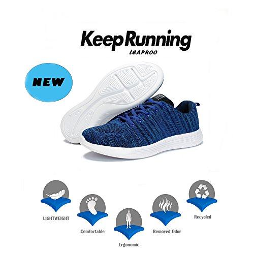 Leaproo Damen / Herren Knit Sneakers Breathable Casual Leichte Athletische Mesh Road-Laufschuhe Blau