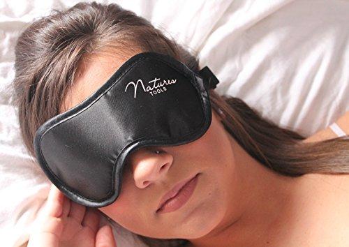 c3888e8be  1 BEST Sleep Mask with earplugs - Ultra Soft Satin - Comfortable black eye  mask